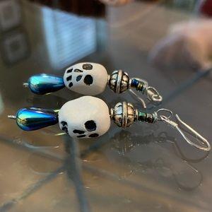 Jewelry - 🎃Handmade Skull Bead Earrings with Sterling Hooks